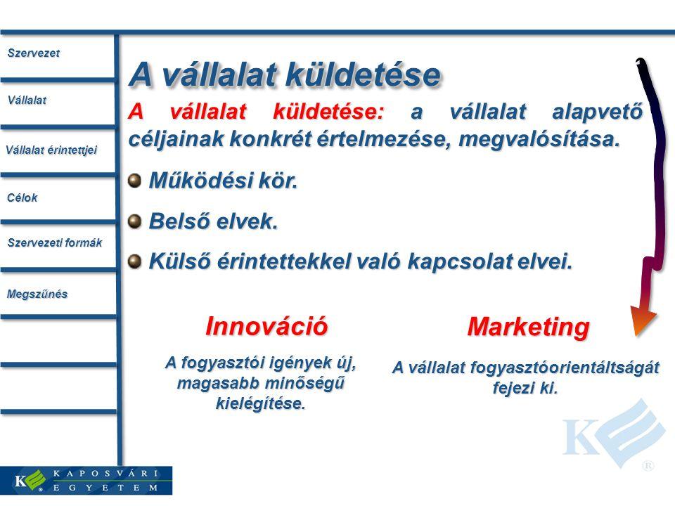 A vállalat küldetése: a vállalat alapvető céljainak konkrét értelmezése, megvalósítása.