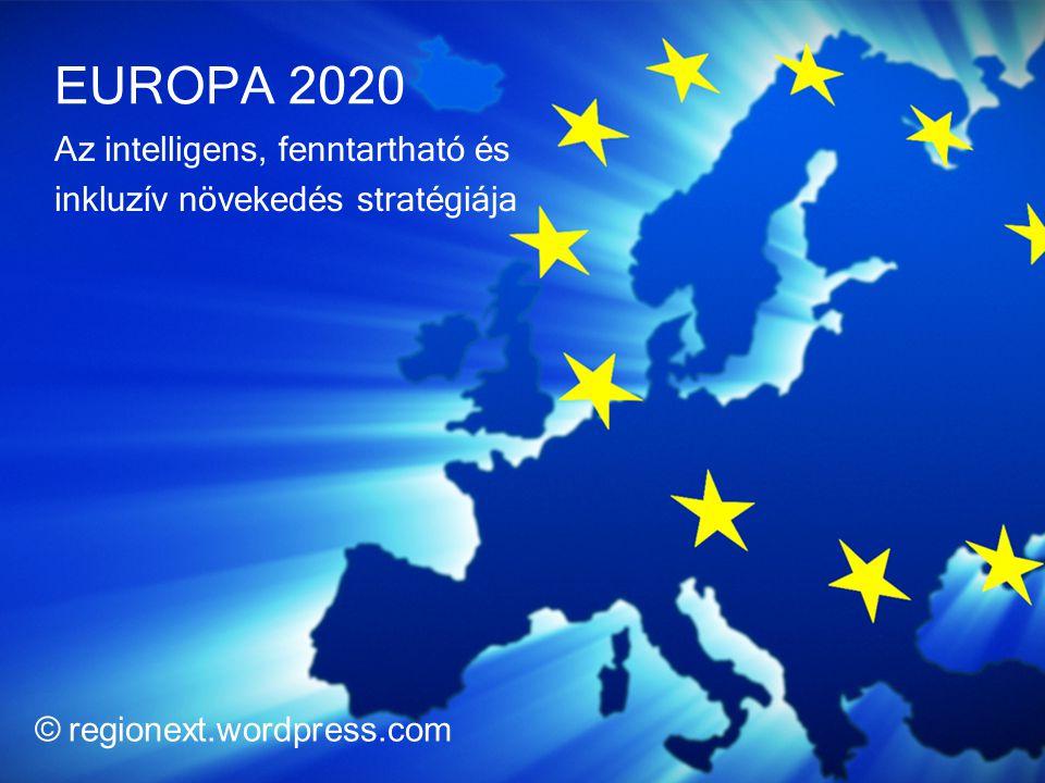 Európa 2020 2010.03.03-i Bizottsági közlemény alapján Fő területei: 1.Foglalkoztatás 2.Kutatás és innováció 3.Éghajlatváltozás és energia 4.Oktatás 5.Szegénység elleni küzdelem Végrehajtására országoknak ajánlásokat fogalmaznak meg, melyek nem teljesítése esetén politikai figyelmeztetést kap az adott tagállam