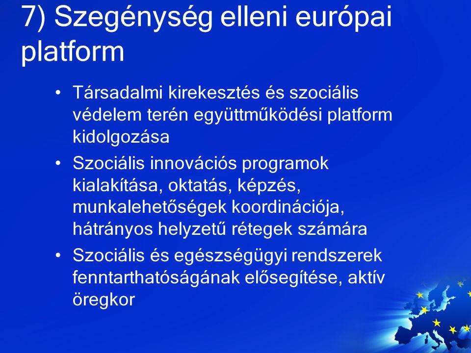 7) Szegénység elleni európai platform Társadalmi kirekesztés és szociális védelem terén együttműködési platform kidolgozása Szociális innovációs progr