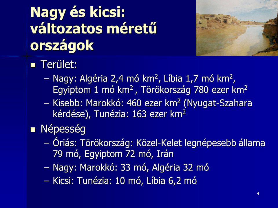 44 Nagy és kicsi: változatos méretű országok Terület: Terület: –Nagy: Algéria 2,4 mó km 2, Líbia 1,7 mó km 2, Egyiptom 1 mó km 2, Törökország 780 ezer