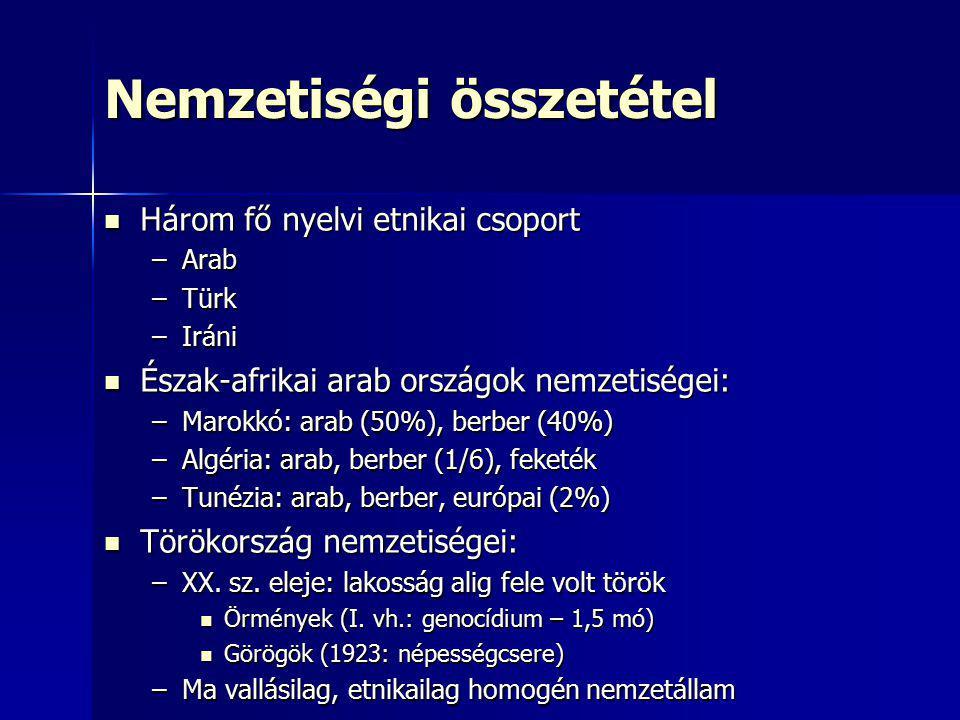 Nemzetiségi összetétel Három fő nyelvi etnikai csoport Három fő nyelvi etnikai csoport –Arab –Türk –Iráni Észak-afrikai arab országok nemzetiségei: És