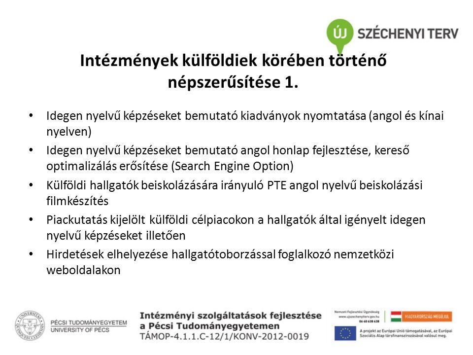 Intézmények külföldiek körében történő népszerűsítése 1. Idegen nyelvű képzéseket bemutató kiadványok nyomtatása (angol és kínai nyelven) Idegen nyelv