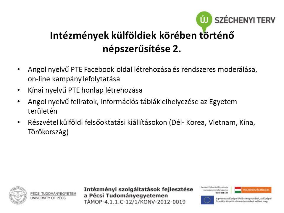 Intézmények külföldiek körében történő népszerűsítése 2. Angol nyelvű PTE Facebook oldal létrehozása és rendszeres moderálása, on-line kampány lefolyt