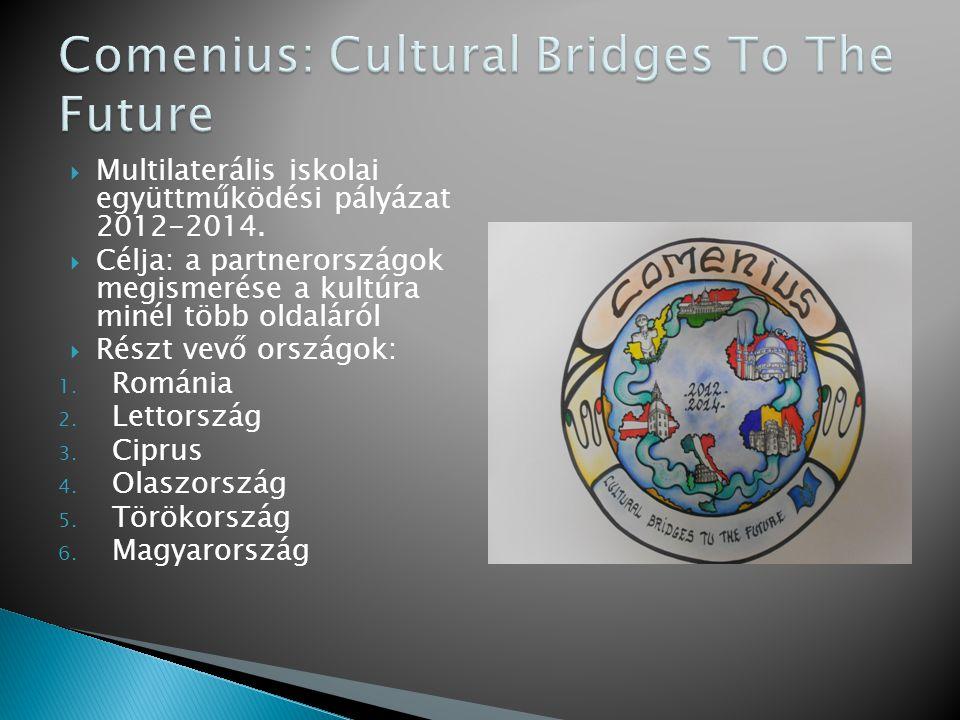  Multilaterális iskolai együttműködési pályázat 2012-2014.  Célja: a partnerországok megismerése a kultúra minél több oldaláról  Részt vevő országo