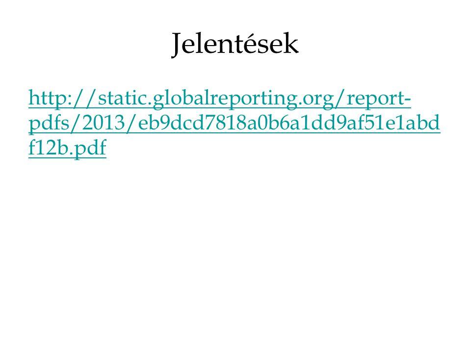 Jelentések http://static.globalreporting.org/report- pdfs/2013/eb9dcd7818a0b6a1dd9af51e1abd f12b.pdf