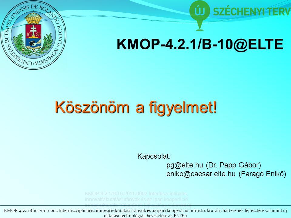 KMOP-4.2.1/B-10-2011-0002 Interdiszciplináris, innovatív kutatási irányok és az ipari kooperáció infrastrukturális hátterének fejlesztése valamint új oktatási technológiák bevezetése az ELTEn KMOP-4.2.1/B-10@ELTE Köszönöm a figyelmet.