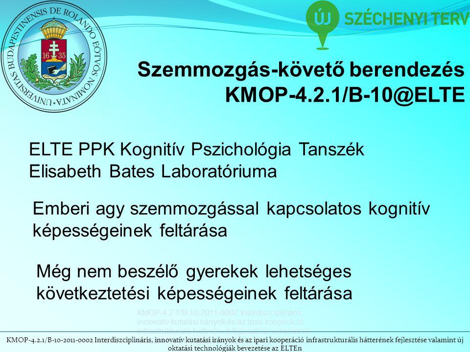 KMOP-4.2.1/B-10-2011-0002 Interdiszciplináris, innovatív kutatási irányok és az ipari kooperáció infrastrukturális hátterének fejlesztése valamint új oktatási technológiák bevezetése az ELTEn Szemmozgás-követő berendezés KMOP-4.2.1/B-10@ELTE ELTE PPK Kognitív Pszichológia Tanszék Elisabeth Bates Laboratóriuma Emberi agy szemmozgással kapcsolatos kognitív képességeinek feltárása Még nem beszélő gyerekek lehetséges következtetési képességeinek feltárása