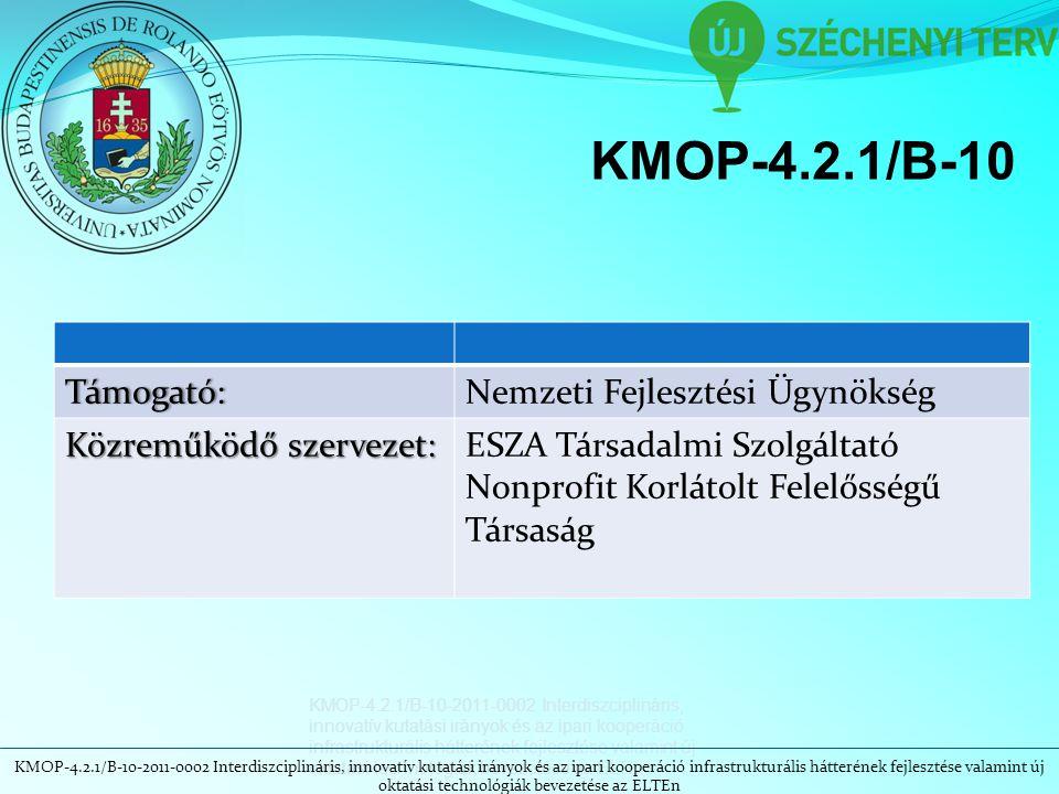 KMOP-4.2.1/B-10 Támogató:Nemzeti Fejlesztési Ügynökség Közreműködő szervezet: ESZA Társadalmi Szolgáltató Nonprofit Korlátolt Felelősségű Társaság