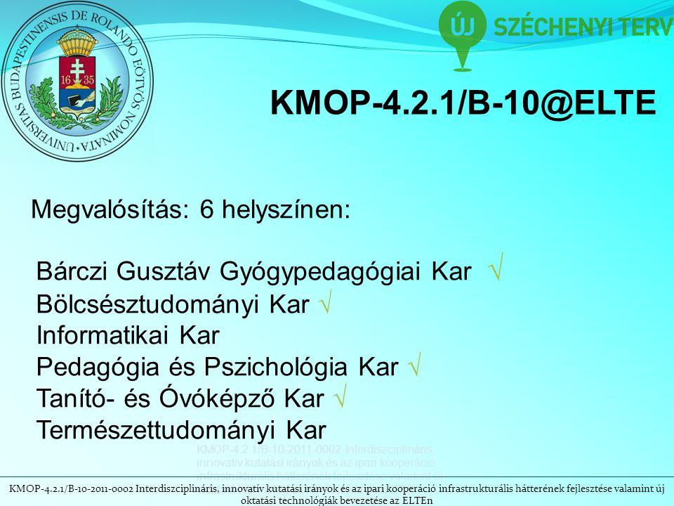 KMOP-4.2.1/B-10-2011-0002 Interdiszciplináris, innovatív kutatási irányok és az ipari kooperáció infrastrukturális hátterének fejlesztése valamint új oktatási technológiák bevezetése az ELTEn KMOP-4.2.1/B-10@ELTE Megvalósítás: 6 helyszínen: Bárczi Gusztáv Gyógypedagógiai Kar √ Bölcsésztudományi Kar √ Informatikai Kar Pedagógia és Pszichológia Kar √ Tanító- és Óvóképző Kar √ Természettudományi Kar
