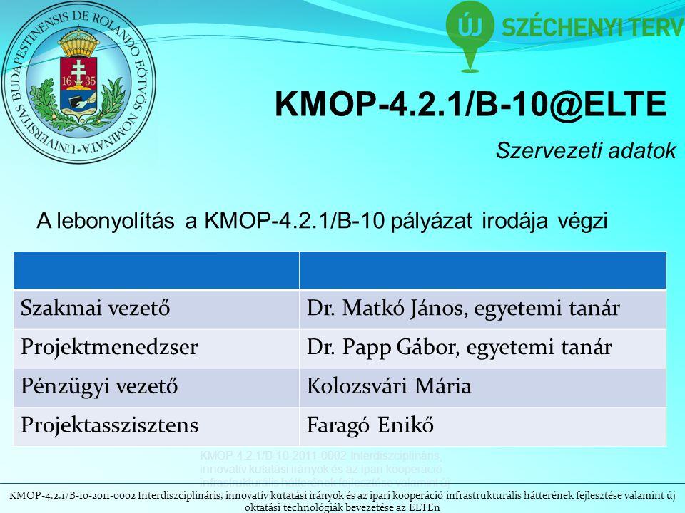 KMOP-4.2.1/B-10-2011-0002 Interdiszciplináris, innovatív kutatási irányok és az ipari kooperáció infrastrukturális hátterének fejlesztése valamint új oktatási technológiák bevezetése az ELTEn KMOP-4.2.1/B-10@ELTE Szervezeti adatok A lebonyolítás a KMOP-4.2.1/B-10 pályázat irodája végzi Szakmai vezetőDr.