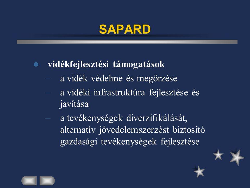SAPARD vidékfejlesztési támogatások –a vidék védelme és megőrzése –a vidéki infrastruktúra fejlesztése és javítása –a tevékenységek diverzifikálását, alternatív jövedelemszerzést biztosító gazdasági tevékenységek fejlesztése