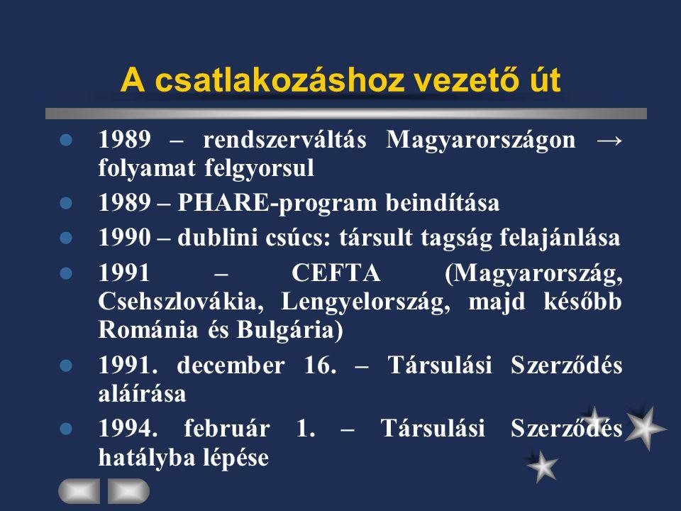 A csatlakozáshoz vezető út kelet-közép-európai országokkal kötött társulási szerződések = Európai Megállapodás 1994.