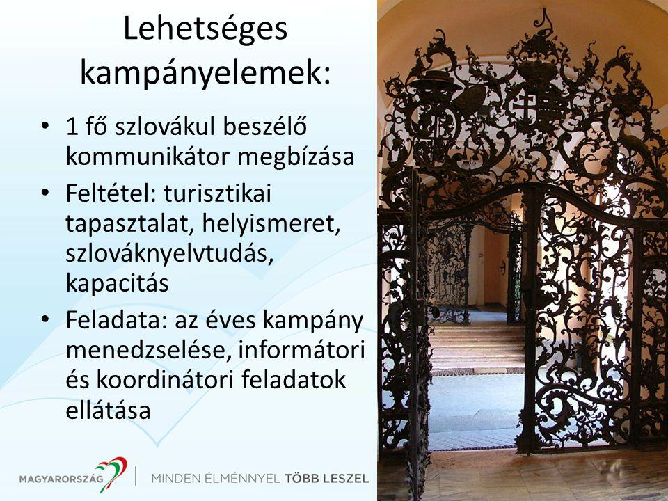 Lehetséges kampányelemek: 1 fő szlovákul beszélő kommunikátor megbízása Feltétel: turisztikai tapasztalat, helyismeret, szlováknyelvtudás, kapacitás Feladata: az éves kampány menedzselése, informátori és koordinátori feladatok ellátása