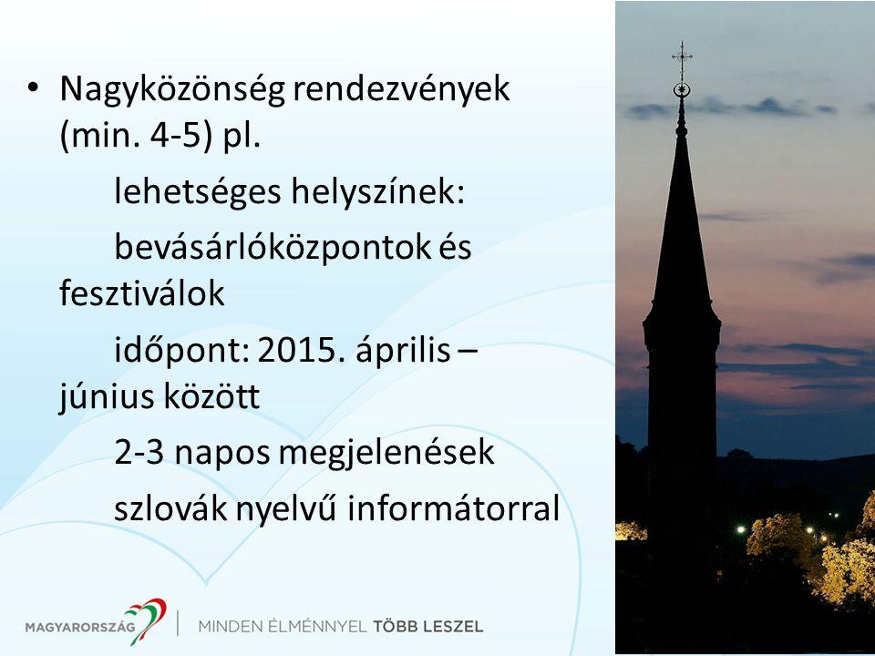 Nagyközönség rendezvények (min. 4-5) pl.