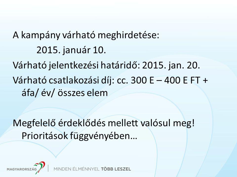 A kampány várható meghirdetése: 2015. január 10. Várható jelentkezési határidő: 2015.