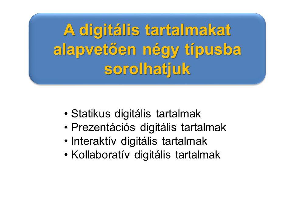Statikus digitális tartalmak Prezentációs digitális tartalmak Interaktív digitális tartalmak Kollaboratív digitális tartalmak A digitális tartalmakat