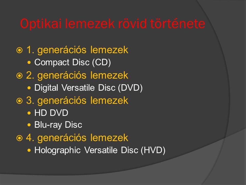 Optikai lemezek rövid története  1. generációs lemezek Compact Disc (CD)  2. generációs lemezek Digital Versatile Disc (DVD)  3. generációs lemezek