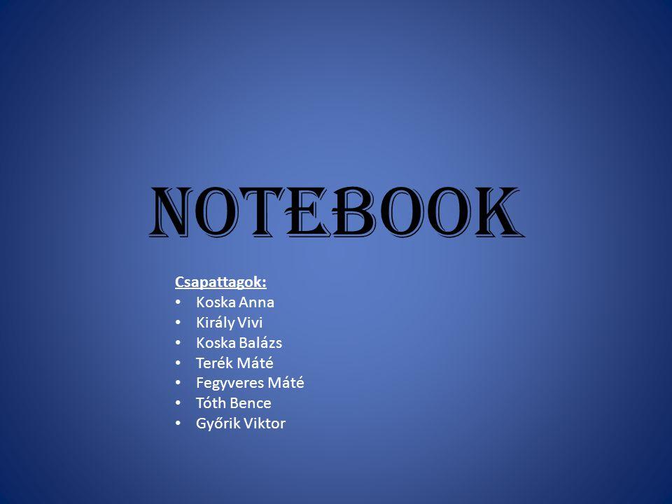 Notebook Csapattagok: Koska Anna Király Vivi Koska Balázs Terék Máté Fegyveres Máté Tóth Bence Győrik Viktor