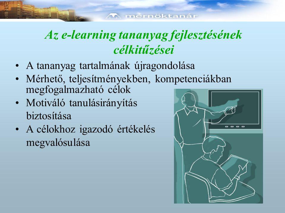 Az e-learning tananyag fejlesztésének célkitűzései A tananyag tartalmának újragondolása Mérhető, teljesítményekben, kompetenciákban megfogalmazható cé