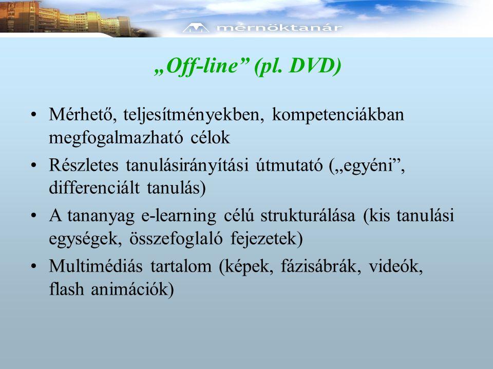 """""""Off-line"""" (pl. DVD) Mérhető, teljesítményekben, kompetenciákban megfogalmazható célok Részletes tanulásirányítási útmutató (""""egyéni"""", differenciált t"""