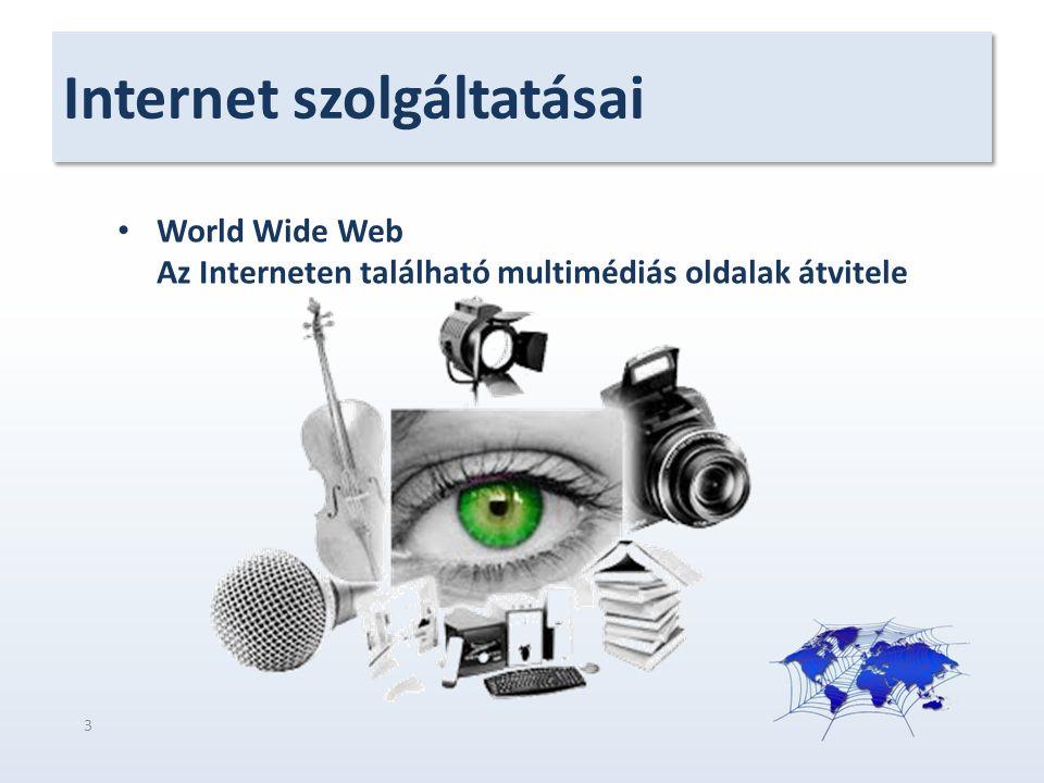 Internet szolgáltatásai World Wide Web Az Interneten található multimédiás oldalak átvitele 3