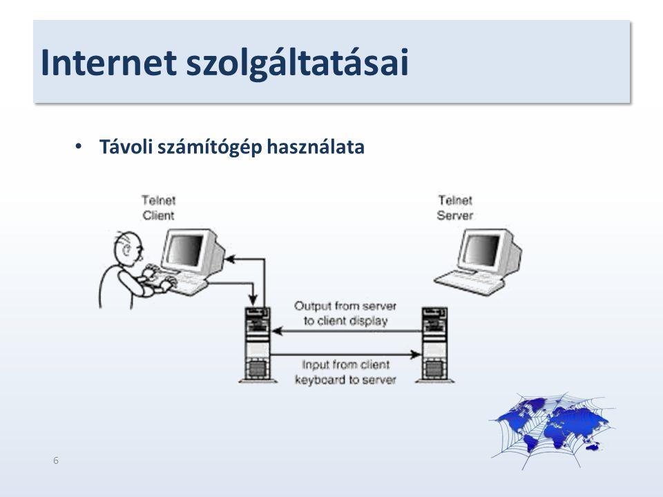 Internet szolgáltatásai Távoli számítógép használata 6