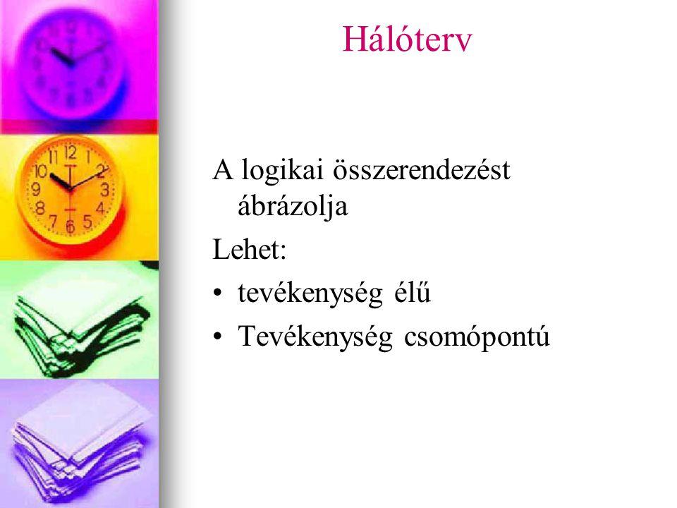 Hálóterv A logikai összerendezést ábrázolja Lehet: tevékenység élű Tevékenység csomópontú