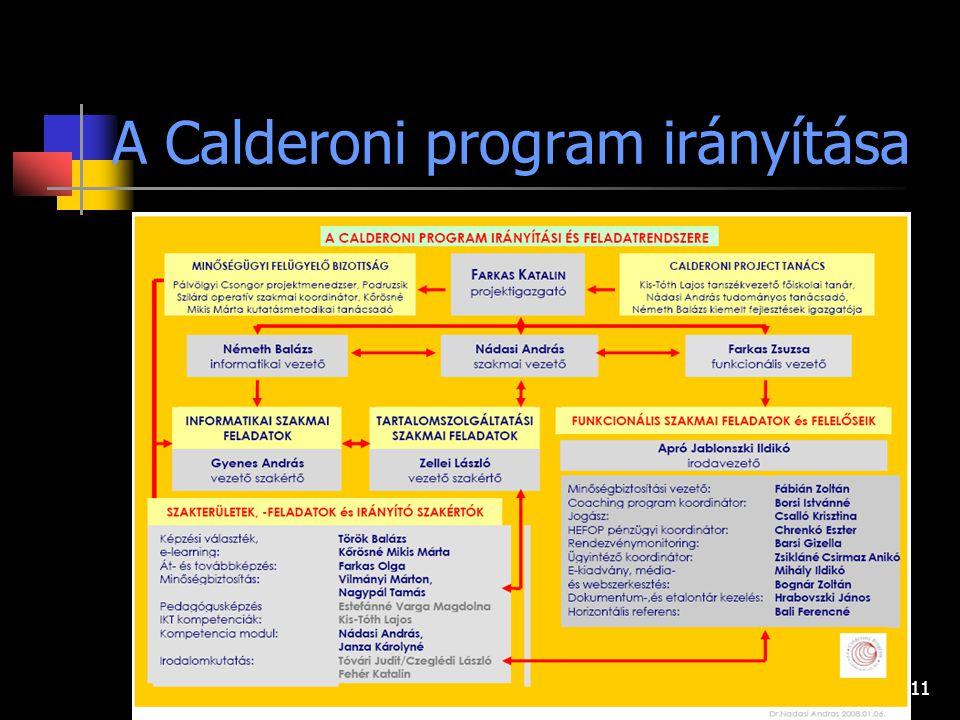 11 A Calderoni program irányítása