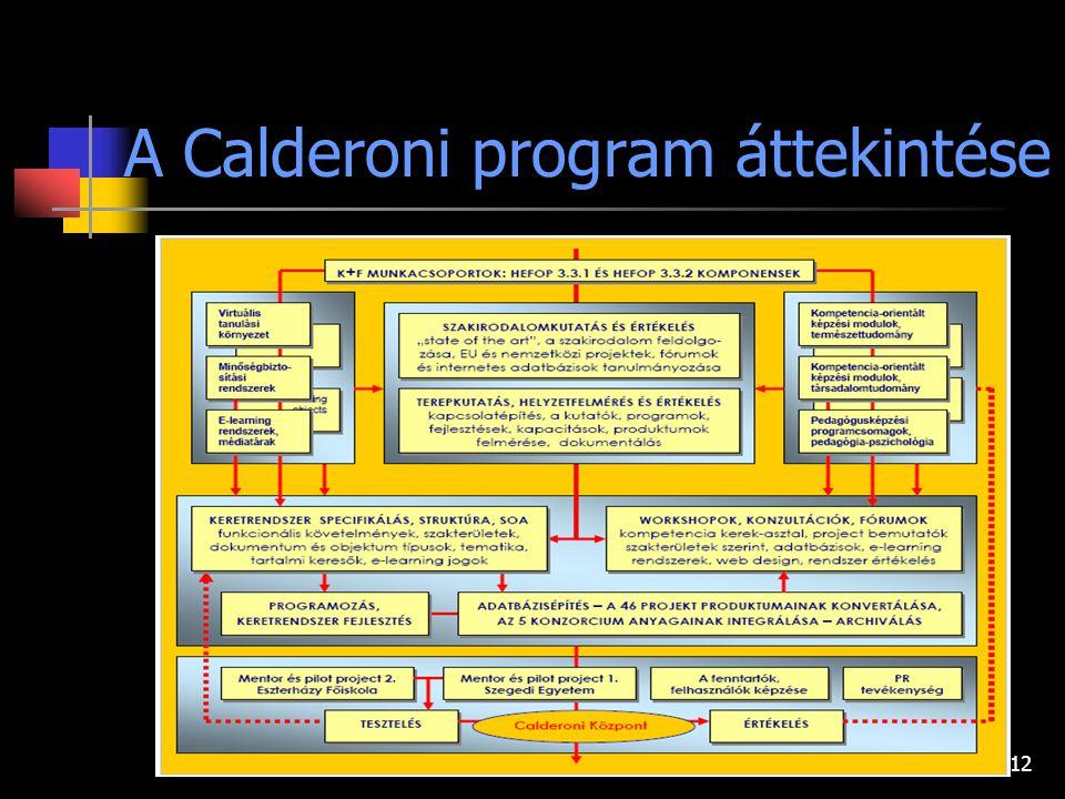 12 A Calderoni program áttekintése