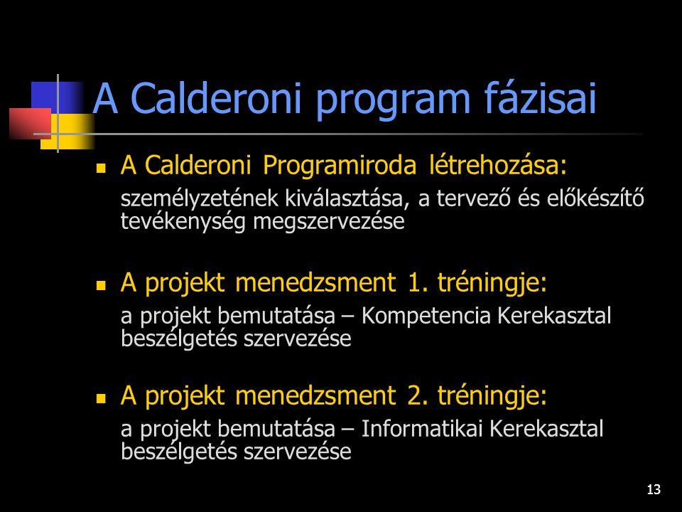 13 A Calderoni program fázisai A Calderoni Programiroda létrehozása: személyzetének kiválasztása, a tervező és előkészítő tevékenység megszervezése A