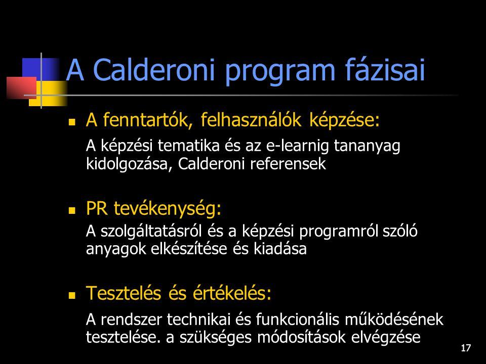 17 A Calderoni program fázisai A fenntartók, felhasználók képzése: A képzési tematika és az e-learnig tananyag kidolgozása, Calderoni referensek PR tevékenység: A szolgáltatásról és a képzési programról szóló anyagok elkészítése és kiadása Tesztelés és értékelés: A rendszer technikai és funkcionális működésének tesztelése.