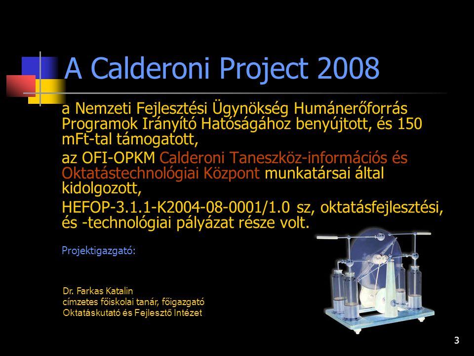 3 a Nemzeti Fejlesztési Ügynökség Humánerőforrás Programok Irányító Hatóságához benyújtott, és 150 mFt-tal támogatott, az OFI-OPKM Calderoni Taneszköz-információs és Oktatástechnológiai Központ munkatársai által kidolgozott, HEFOP-3.1.1-K2004-08-0001/1.0 sz, oktatásfejlesztési, és -technológiai pályázat része volt.