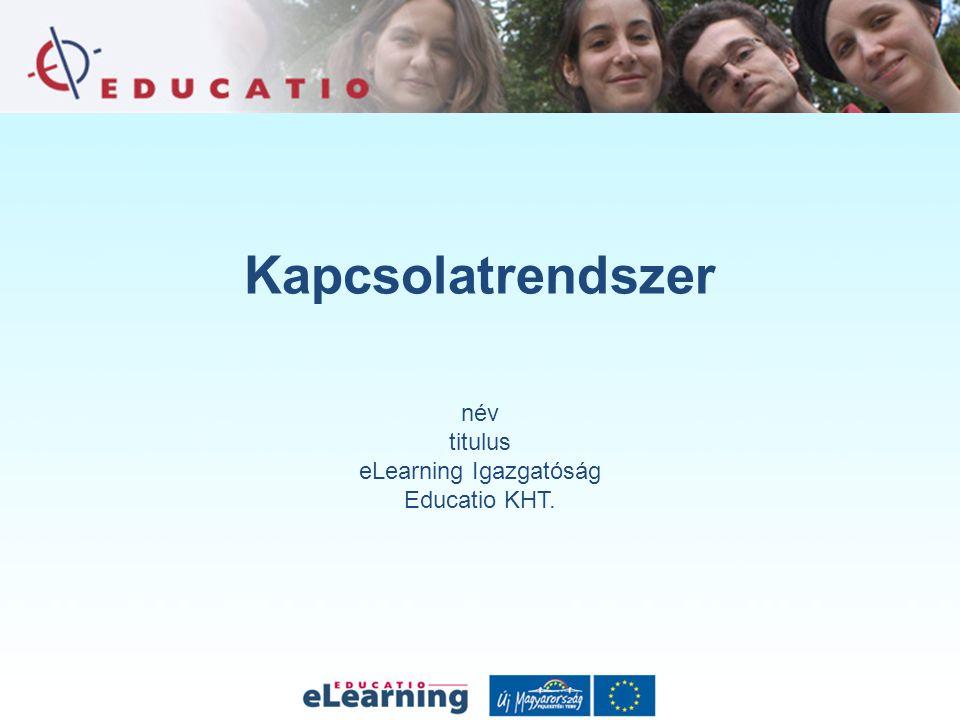 Kapcsolatrendszer név titulus eLearning Igazgatóság Educatio KHT.