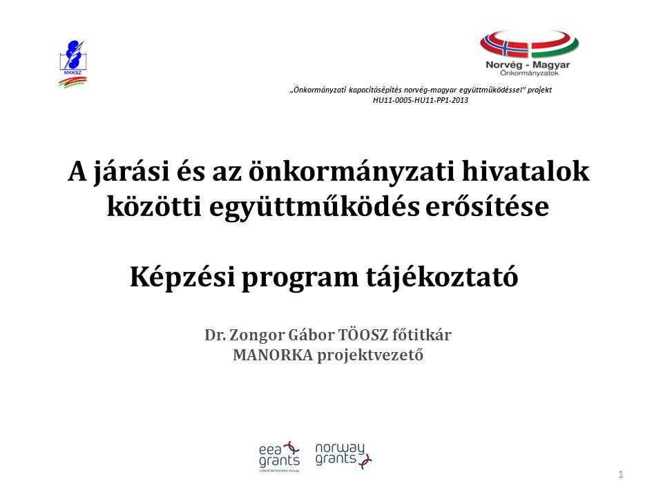 A járási és az önkormányzati hivatalok közötti együttműködés erősítése Képzési program tájékoztató Dr. Zongor Gábor TÖOSZ főtitkár MANORKA projektveze