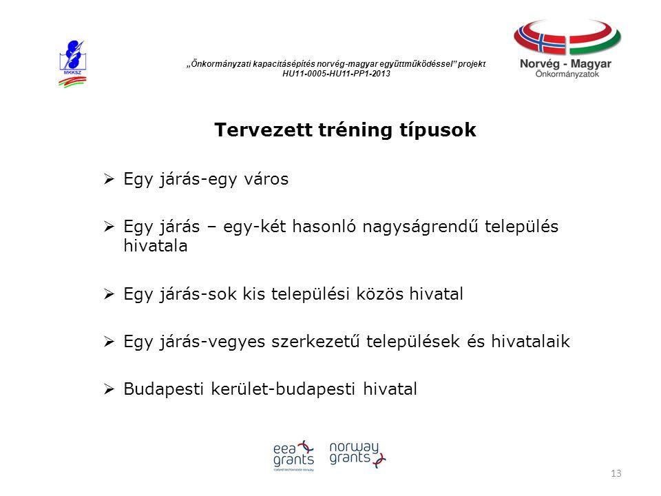 """""""Önkormányzati kapacitásépítés norvég ‐ magyar együttműködéssel"""" projekt HU11-0005-HU11-PP1-2013 Tervezett tréning típusok  Egy járás-egy város  Egy"""