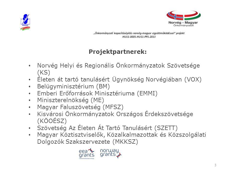 """Projektpartnerek: Norvég Helyi és Regionális Önkormányzatok Szövetsége (KS) Életen át tartó tanulásért Ügynökség Norvégiában (VOX) Belügyminisztérium (BM) Emberi Erőforrások Minisztériuma (EMMI) Miniszterelnökség (ME) Magyar Faluszövetség (MFSZ) Kisvárosi Önkormányzatok Országos Érdekszövetsége (KÖOÉSZ) Szövetség Az Életen Át Tartó Tanulásért (SZETT) Magyar Köztisztviselők, Közalkalmazottak és Közszolgálati Dolgozók Szakszervezete (MKKSZ) """"Önkormányzati kapacitásépítés norvég‐magyar együttműködéssel projekt HU11-0005-HU11-PP1-2013 3"""