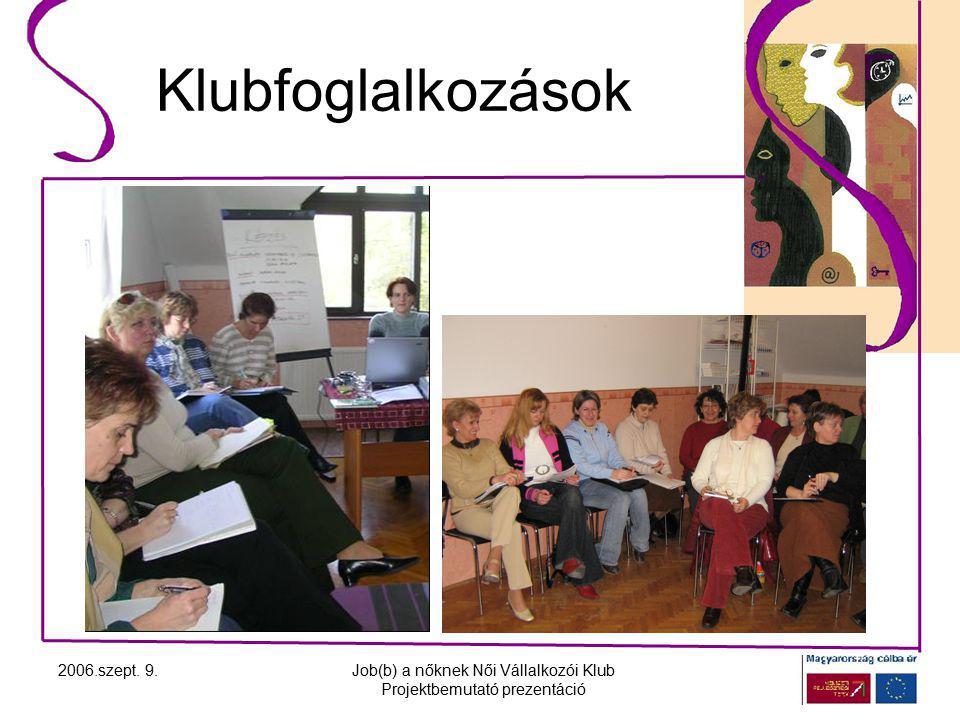 2006.szept. 9.Job(b) a nőknek Női Vállalkozói Klub Projektbemutató prezentáció Klubfoglalkozások