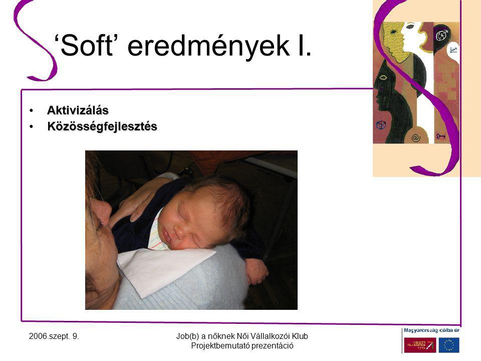 2006.szept. 9.Job(b) a nőknek Női Vállalkozói Klub Projektbemutató prezentáció 'Soft' eredmények I.