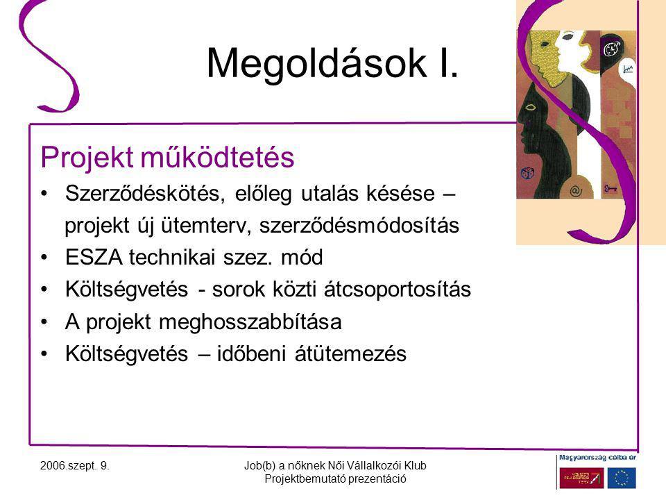 2006.szept. 9.Job(b) a nőknek Női Vállalkozói Klub Projektbemutató prezentáció Megoldások I.