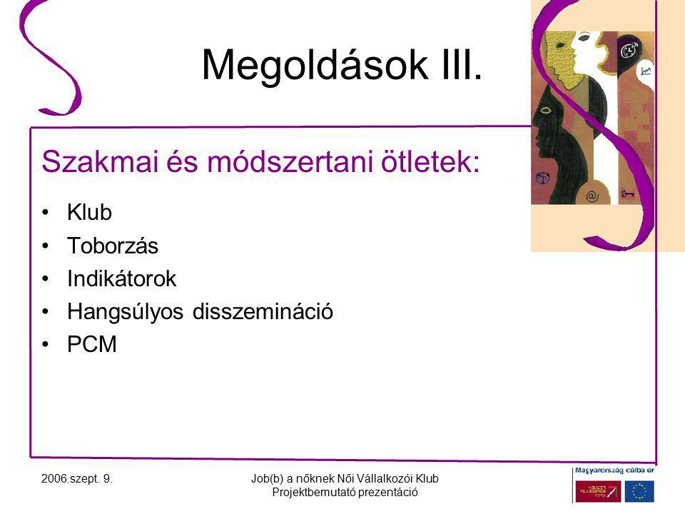 2006.szept. 9.Job(b) a nőknek Női Vállalkozói Klub Projektbemutató prezentáció Megoldások III.