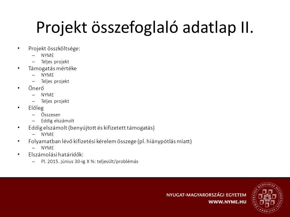 Pénzügyi előrehaladás a projekt megvalósítása során Projekt előkészítés Projekt menedzsme nt költségei Szakmai megvalósításs al összefüggő költségek Projekt megvalósításáh oz igénybevett szolgáltatások Egyéb szolgáltatá sok ERFA Általános költségek TartalékÖsszesen Támogatás összege hatályos költségvetés szerint (Ft/EUR) Kifizetési kérelem keretében eddig benyújtott összeg (Ft/EUR) Ezen felül lekötött összeg (Ft/EUR) - aláírt megrendelő/szerződés rendelkezésre áll Fennmaradó összeg (Ft/EUR) Felhasználás aránya (%) – Kifizetési kérelemben benyújtott + lekötött összeg/ tám.