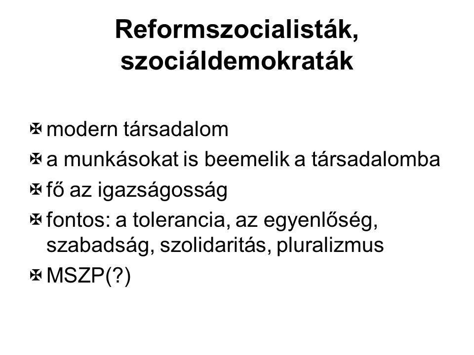 Reformszocialisták, szociáldemokraták  modern társadalom  a munkásokat is beemelik a társadalomba  fő az igazságosság  fontos: a tolerancia, az eg