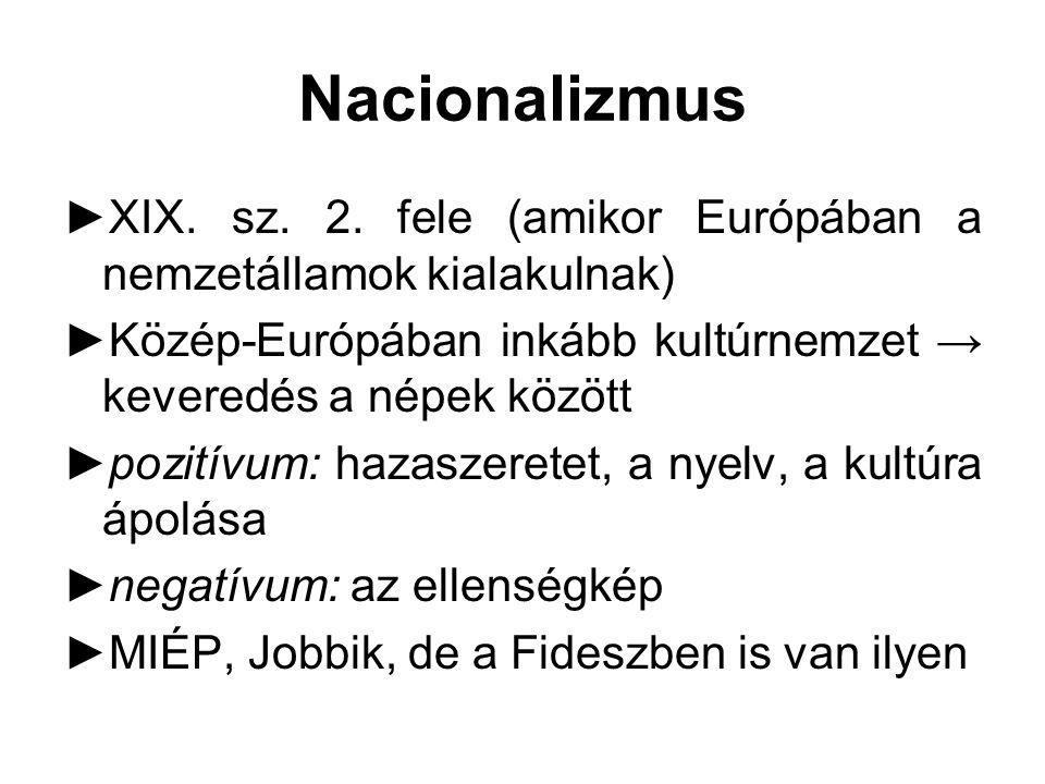 Populizmus  a fejlődés jó, mert új értékeket teremt; de rossz is egyben, mert a régi eszméket eltörli  harcot hirdet az idegen eszmék ellen  Előzmény: népi írók (Illyés)  jelszavai: harc az idegen tőke (bankok), a korrupció, a közbiztonság lazulása, a vallás lazulása, a nemzet elsatnyulása ellen  MIÉP, Jobbik, Fidesz  A populizmus: nacionalizmus, konzervativizmus, szocializmus keveréke