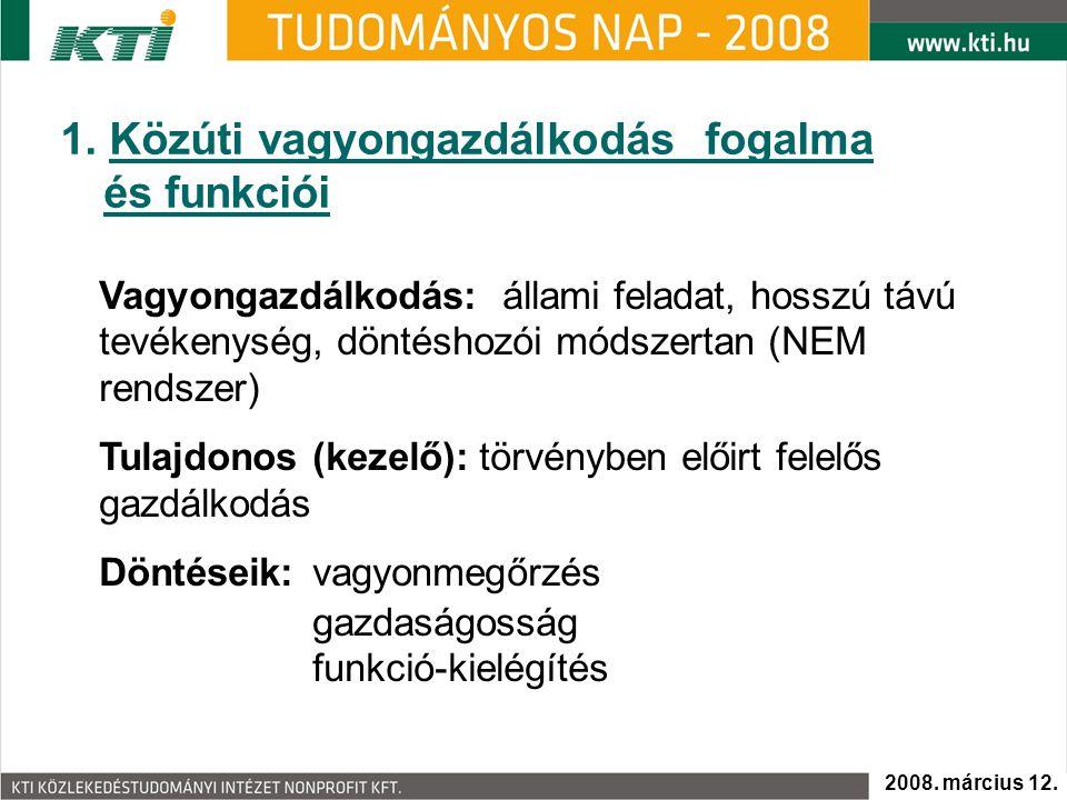 1. Közúti vagyongazdálkodás fogalma és funkciói Vagyongazdálkodás: állami feladat, hosszú távú tevékenység, döntéshozói módszertan (NEM rendszer) Tula