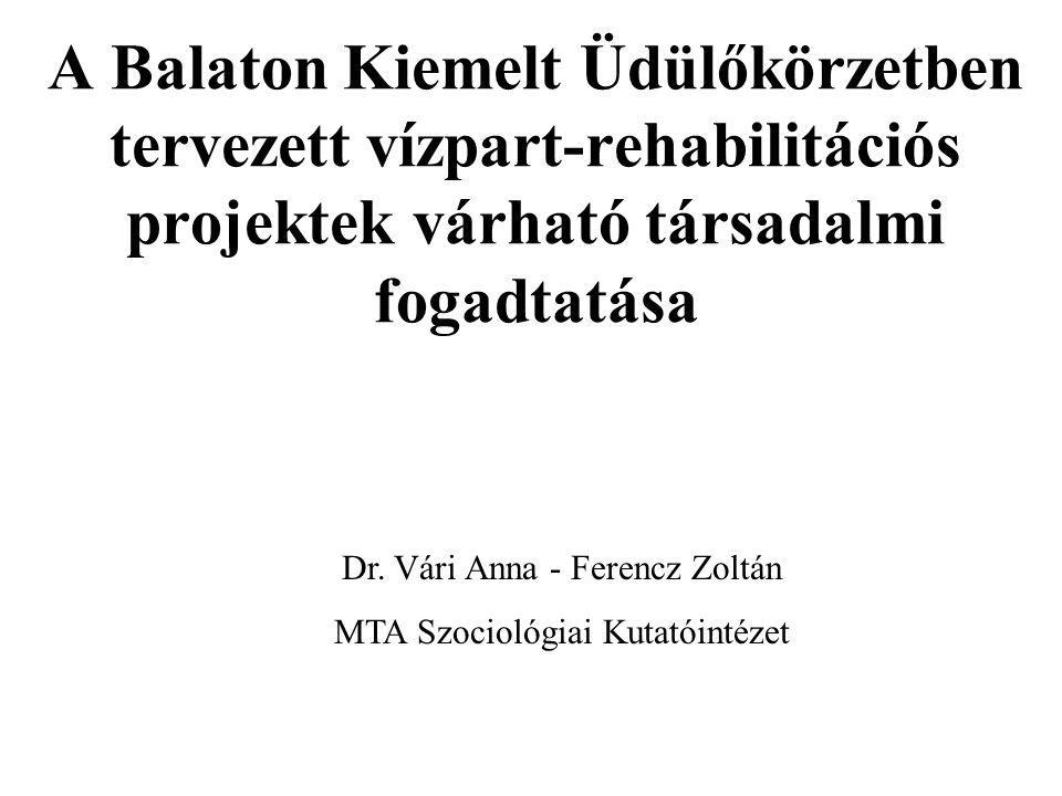 A Balaton Kiemelt Üdülőkörzetben tervezett vízpart-rehabilitációs projektek várható társadalmi fogadtatása Dr. Vári Anna - Ferencz Zoltán MTA Szocioló