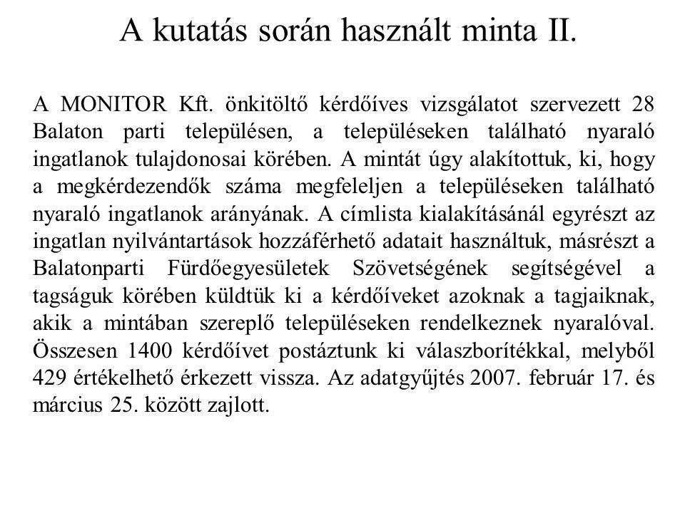 A kutatás során használt minta II. A MONITOR Kft. önkitöltő kérdőíves vizsgálatot szervezett 28 Balaton parti településen, a településeken található n
