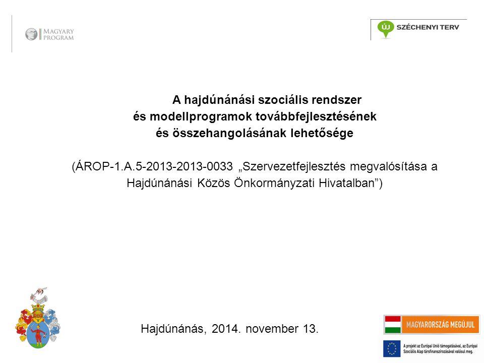 """A hajdúnánási szociális rendszer és modellprogramok továbbfejlesztésének és összehangolásának lehetősége (ÁROP-1.A.5-2013-2013-0033 """"Szervezetfejlesztés megvalósítása a Hajdúnánási Közös Önkormányzati Hivatalban ) Hajdúnánás, 2014."""