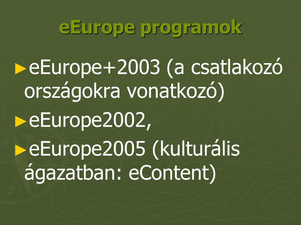 eEurope programok ► ► eEurope+2003 (a csatlakozó országokra vonatkozó) ► ► eEurope2002, ► ► eEurope2005 (kulturális ágazatban: eContent)