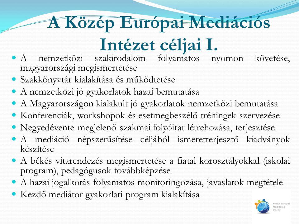 A Közép Európai Mediációs Intézet céljai I. A nemzetközi szakirodalom folyamatos nyomon követése, magyarországi megismertetése Szakkönyvtár kialakítás