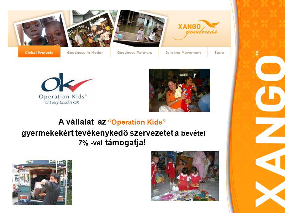 A vàllalat az Operation Kids gyermekekért tevékenykedö szervezetet a bevétel 7% -val támogatja!